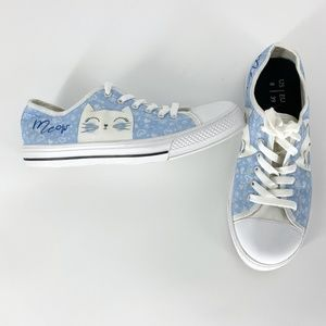 MEOW CAT Themed Sz8 Lace-Up Sneakers